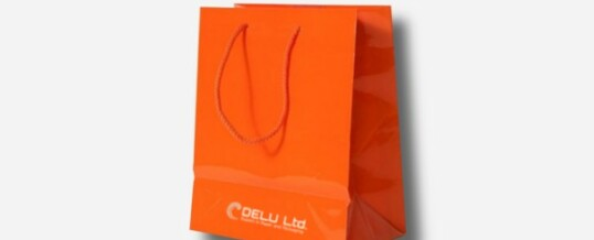 Papiertragetasche – Orange ; glanz veredelt