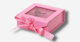 Photo Box mit Sichtfenster + Schleife ; Rose
