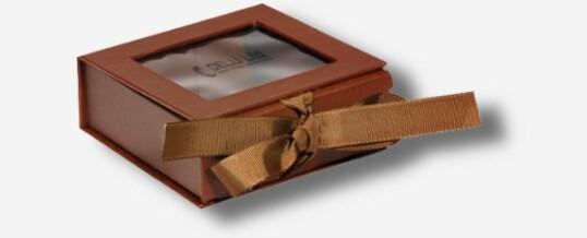 Photo Box mit Sichtfenster + Schleife ; Braun
