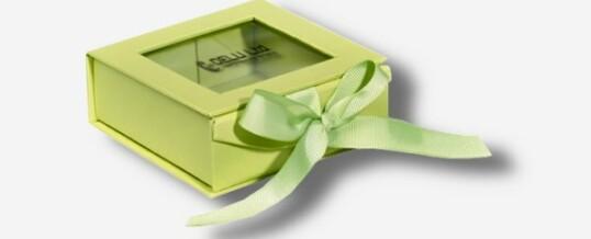 Photo Box mit Sichtfenster + Schleife ; Grün