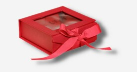 Photo Box mit Sichtfenster + Schleife ; Rot