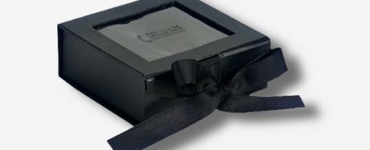 Photo Box mit Sichtfenster + Schleife ; Schwarz