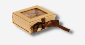 Photo Box mit Sichtfenster + Schleife ; Beige