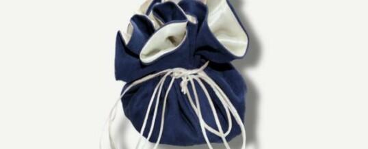 Samtbeutel Pompadour ; Blau
