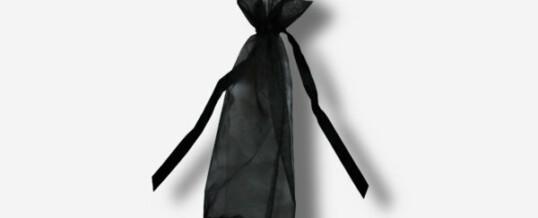 Organza Beutel rund schwarz
