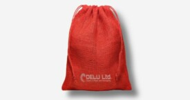 Burlap Drawstring Pouch – Red
