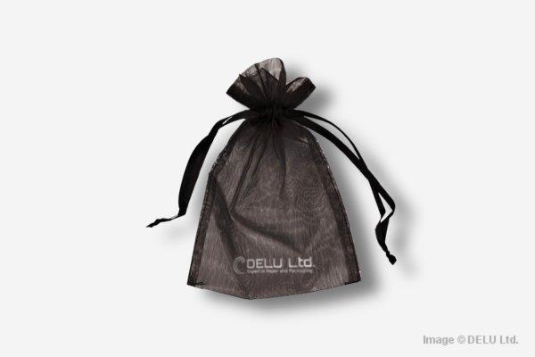 Black Organza Drawstring Bag