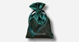 Satin Drawstring Pouch Emerald
