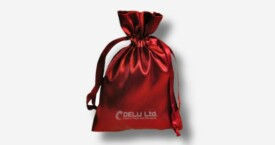 Satin Drawstring Pouch Red