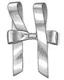 1. 整理好打好的单蝴蝶结,确定哪一侧在上面哪一侧在下面,每个结尾处绕一个环。