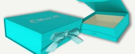 Photo box with ribbon ; Sky Blue