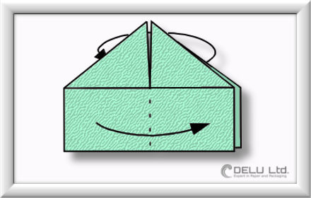 How to fold Origami paper box with handles Step 011