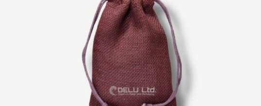 Bolsa de yute con cordón – Rojo borgoña