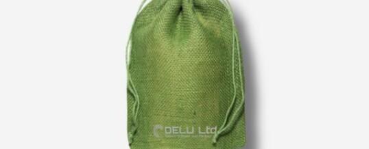 Bolsa de yute con cordón – Verde irlandés