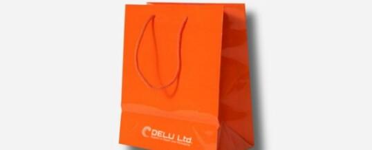 Bolsa de papel en color único más logotipo – Brillante naranja