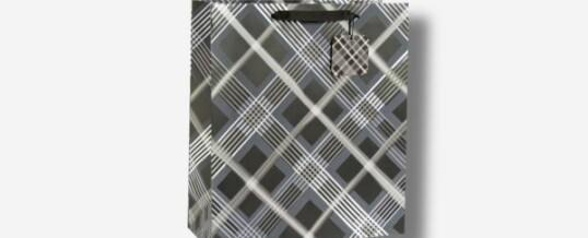 Bolsa de papel vertical rayas negro blanco