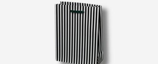 Bolsa de papel con negrita negro de rayas