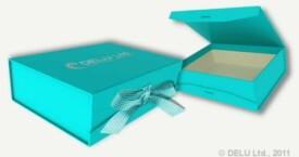 Caja para fotos con cinta atada ; Azul de cielo