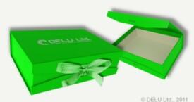 Caja para fotos con cinta atada ; Verde