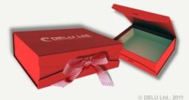 Caja para fotos con cinta atada ; Rojo