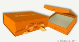 Caja para fotos con cinta atada ; Naranja