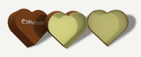 Corazón en forma de caja de regalo – Marrón