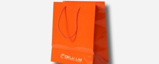 紙袋-プレーン オレンジ;光沢仕上げ