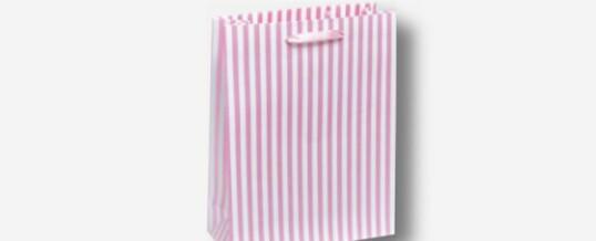 紙袋-大胆なストライプ ピンク