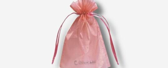 オーガンジー巾着袋 ; ピンク