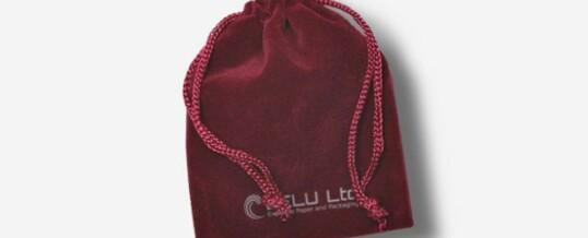 ベルベット巾着ポーチ ; 濃い赤