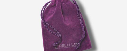 ベルベット巾着ポーチ ; 紫色