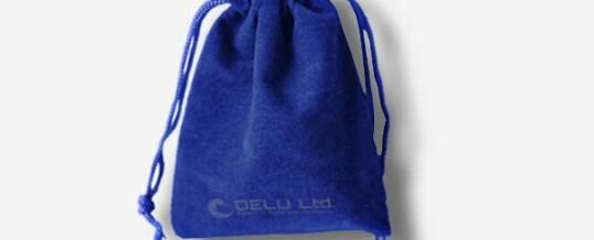 ベルベット巾着ポーチ ; サファイアの青