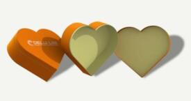 ハート型のギフトボックス ; オレンジ