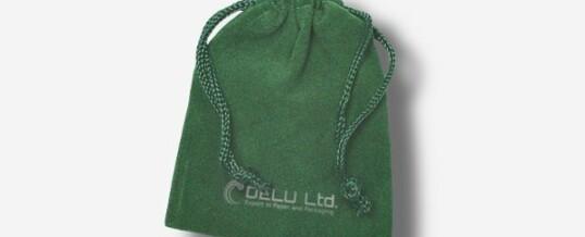 绿色绒布束口袋