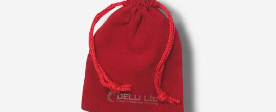 红色绒布束口袋