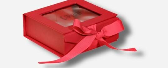 开窗丝带相片盒 红色